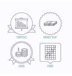 Chart cash money and statistics icons vector