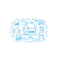 Real estate home outline icon concept vector