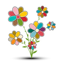 Abstract Retro Flower Isolated on White Background vector image vector image
