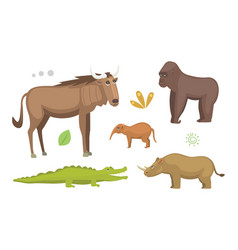 african animals cartoon set elephant vector image