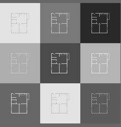 apartment house floor plans grayscale vector image vector image