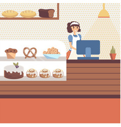 Bakery shop interior with glass showcase full of vector