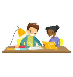 Biracial brother and sister doing homework vector