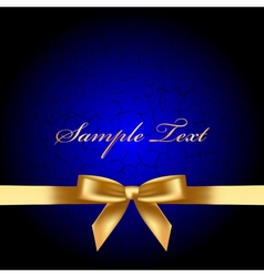 blue background with gold bow vector image vector image