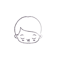 Monochrome Silhouette Of Kawaii Head Of Little Boy