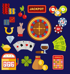 Casino gambler game icons poker symbols and vector