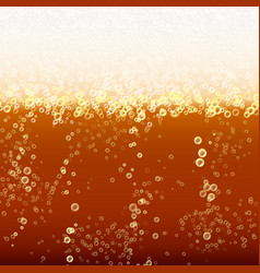 Close up light beer with foam and bubbles vector