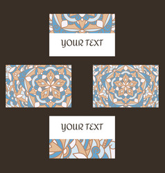 Decorative floral business cards mandala vector