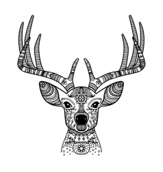 Deer head with floral ornament vector