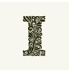 Elegant capital letter i in the style baroque vector