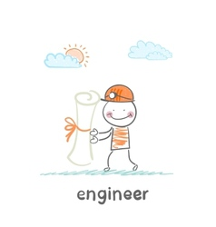 Engineer holding a paper vector