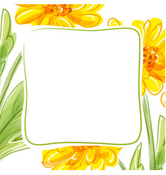 Floral background with yellow flowers vector