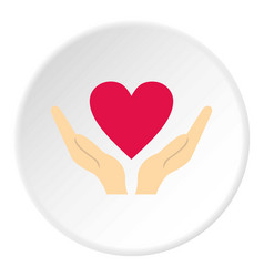 hands holding heart icon circle vector image