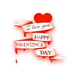 Happy valentine day Heart with ribbon vector image vector image