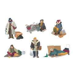 homeless people cartoon flat characters set vector image