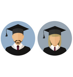 Icons set student graduate avatar a man and a vector