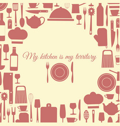 kitchen banner background of items of food vector image