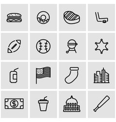 line usa icon set vector image