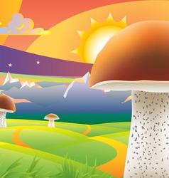 mushroom sunset vector image vector image