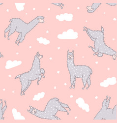 seamless pattern with lama dream vector image