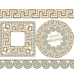 Set 3 brushes greek meander patterns vector