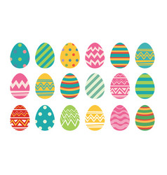 set of easter eggs flat design on white background vector image vector image