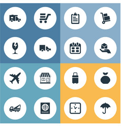 set of simple carting icons vector image vector image
