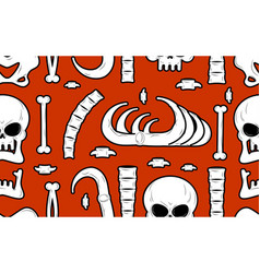 skeleton background bones seamless pattern skull vector image vector image