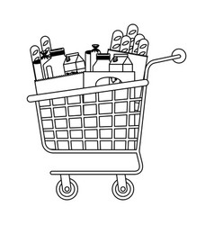 Supermarket shopping cart with foods sausage bread vector