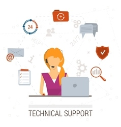 Technical support flat Man and icons vector image vector image