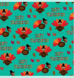 turkey thanksgiving pattern vector image vector image