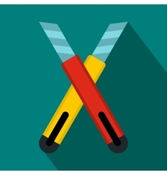 Two construction utility knives icon flat style vector