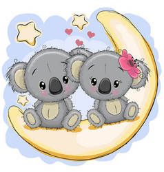 two cute koalas is sitting on the moon vector image vector image
