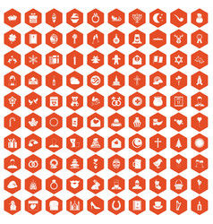 100 religious festival icons hexagon orange vector