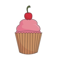 Cupcake dessert strawberry vector