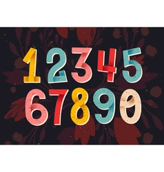Colorful set of hand drawn numbers folded paper nu vector