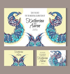 Set of invitation wedding cards with swans vector image