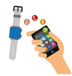 Hand hold smartphone smart watch sharing element vector