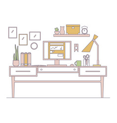 line workplace in flat style interior vector image