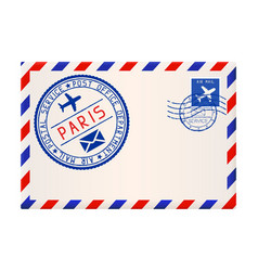 international air mail envelope from paris with vector image