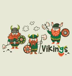 cartoon ship scandinavian viking drakkar vector image