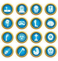 zombie icons blue circle set vector image