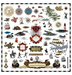 Antique map elements vector