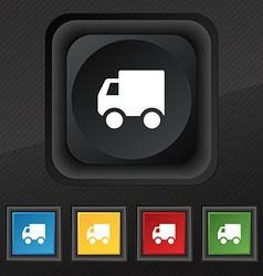 Delivery truck icon symbol set of five colorful vector