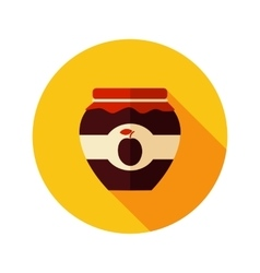 Plum jam jar flat icon with long shadow vector