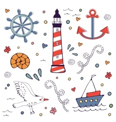 Colorfil sea doodles vector