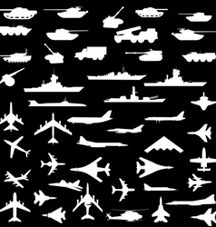 Set of aircraft armored ships and guns vector