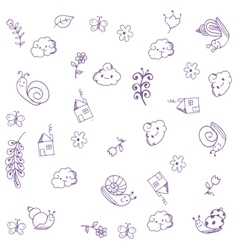 Doodle art home snail and leaves vector image