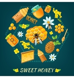 Honey round composition vector