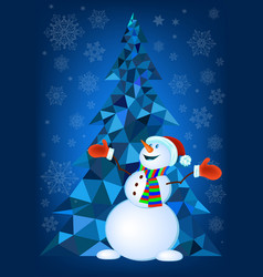 abstract christmas tree and snowman vector image vector image